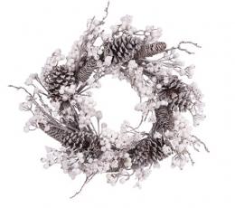Kalėdinis vainikas su kankorėžiais ir baltomis uogomis (55 cm) 1
