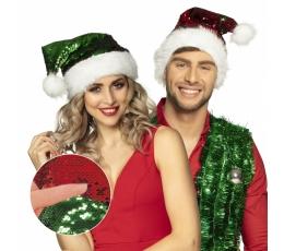 Kalėdų Senelio kepurė su žvyneliais, raudona/žalia