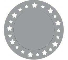 Kartono padėkliukai, sidabriniai žvaigždėti (6 vnt./33 cm)
