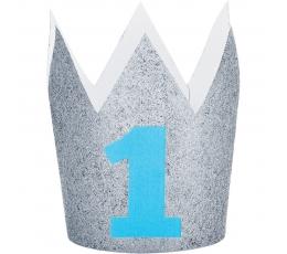 """Karūnėlė """"1-asis gimtadienis"""", sidabrinė-žydra"""