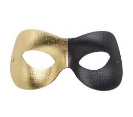 """Kaukė - domino """"Fashion""""/auksas+juoda"""