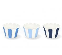 Keksiukų dekoracijos, mėlynai dryžuotos (6 vnt.)