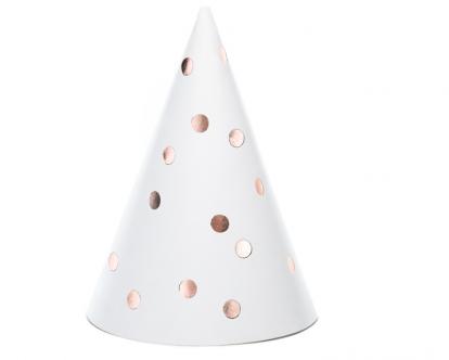Kepuraitės, baltos rožinio aukso taškeliais (6 vnt.)