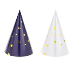 Kepuraitės, baltos/tamsiai mėlynos su žvaigždutėmis (6 vnt.)