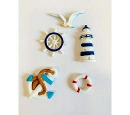 """Klijuojamos 3D dekoracijos """"Jūra"""" (5 vnt./ 4,5 cm)"""