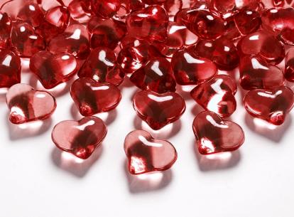 """Konfeti kristaliukai """"Raudonos širdelės"""" (30 vnt./21 mm)"""