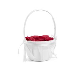 Krepšelis žiedlapiams, baltas atlasinis