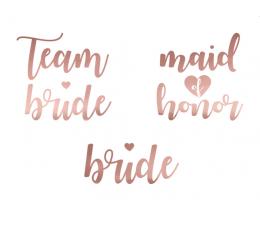 """Laikinos tatuiruotės """"Team bride"""" rožinio aukso (13 vnt.)"""