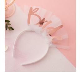 """Lankelis """"Bride"""", baltas su rožinio aukso užrašu"""