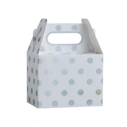 Lauktuvių dėžutės, baltai-sidabriniai taškuotos (5 vnt.)