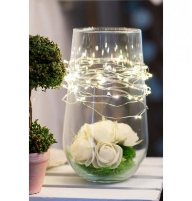 LED girlianda, šiltai balta (50 mini lempučių/5 m)