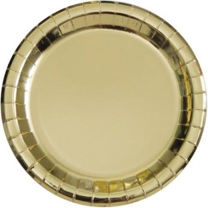 Lėkštutės, auksinės žvilgančios (8 vnt./18 cm)