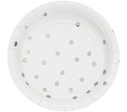 Lėkštutės, baltos-sidabrinės taškuotos (8 vnt./18 cm)