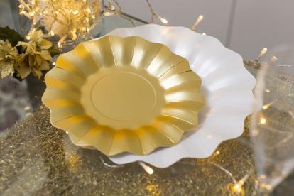 Lėkštutės-gėlės, auksinės (8 vnt./21 cm)
