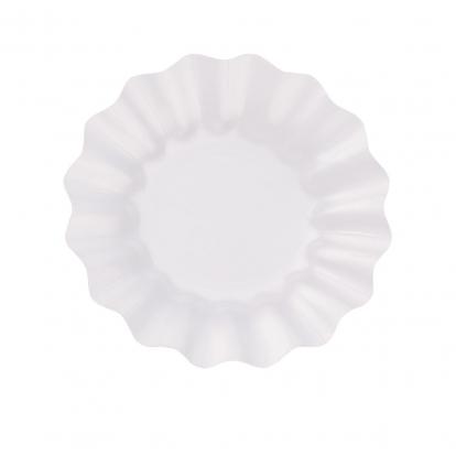 Lėkštutės-gėlės, baltos perlamutrinės (8 vnt./21 cm)