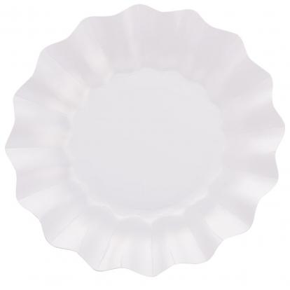 Lėkštutės-gėlės, baltos perlamutrinės (8 vnt./27 cm)