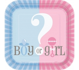"Lėkštutės ""Girl or boy?"" (10 vnt./17 cm)"