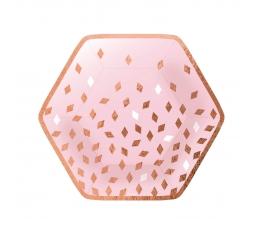 """Lėkštutės """"Happy Birthday"""", rožinio aukso ( 8 vnt./23 cm)"""