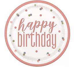 """Lėkštutės """"Happy Birthday"""", tamsiai persikinės (8 vnt./22 cm)"""