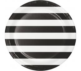 Lėkštutės, juodai-baltai dryžuotos (8 vnt./22 cm)