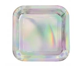 Lėkštutės, kvadratinės perlamutrinės (8 vnt./18 cm)
