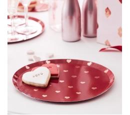 Lėkštutės-padėkliukai, raudoni su rožinio aukso širdelėmis (8 vnt./24 cm)