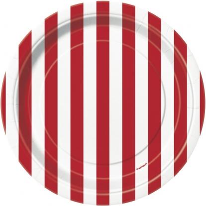 Lėkštutės, raudonai dryžuotos (8 vnt./18 cm)