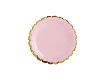 Lėkštutės, rausvos aukso krašteliu (6 vnt./18 cm)