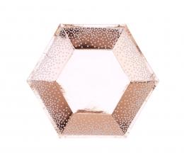 Lėkštutės, rožinio aukso-baltai taškuotos (8 vnt./20 cm) 1