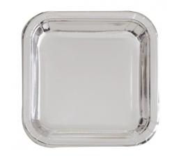 Lėkštutės, sidabrinės kvadratinės (8 vnt./17 cm)