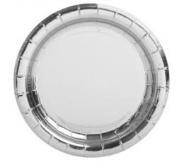 Lėkštutės, sidabrinės žvilgančios (8 vnt./18 cm)