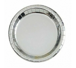 Lėkštutės, sidabrinės žvilgančios (8 vnt./22 cm)