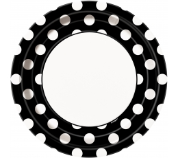 Lėkštutės, taškuotai juodos (8 vnt./22 cm)