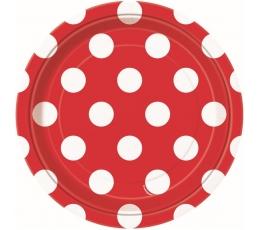 Lėkštutės, taškuotai raudonos (8 vnt./18 cm)