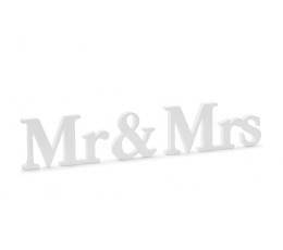 "Medinė stalo dekoracija ""Mr & Mrs"" (9,5 x 45 cm)"
