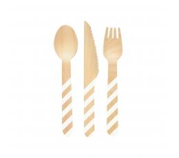 Mediniai stalo įrankiai, baltai dryžuoti (4-iems)