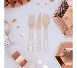"""Mediniai stalo įrankiai """"Rožinio aukso taškeliai"""" (8-iems)"""