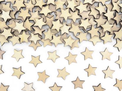 """Mediniai stalo konfeti """"Žvaigždutės"""" (50 vnt./2 cm)"""