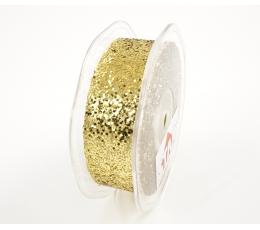"""Medžiaginė juostelė """"Blizgantis auksas"""" (25 mm. x 20 m.)"""