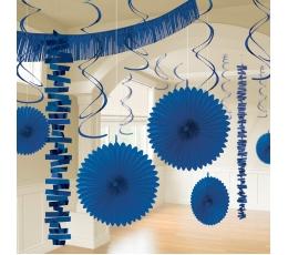 Mėlynos spalvos dekoracijų rinkinys (18 vnt.)