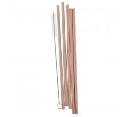 Metaliniai šiaudeliai su šepetėliu, rožinio aukso spalvos (5 vnt.)