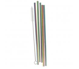 Metaliniai šiaudeliai su šepetėliu, spalvoti  (5 vnt.)