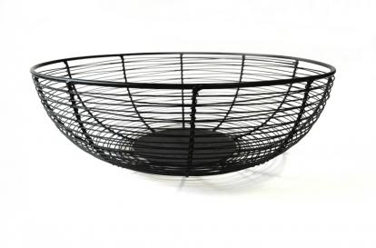 (NUOMA) Metalinis indas-krepšelis vaisiams, juodas (30 cm)
