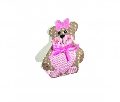 """Mini dovanų dėžutė-dekoracija """"Meškutis"""", rožinė (6X4X1,2 cm)"""