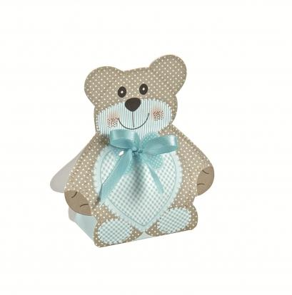 "Mini dovanų dėžutė-dekoracija ""Meškutis"", žydra (6X4X1,2 cm)"