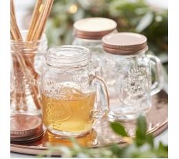 Mini stiklainiukai, rožinio aukso dangteliais (4 vnt./120 ml)