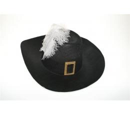 Muškietininko skrybėlė juoda