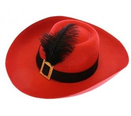 Muškietininko skrybėlė raudona