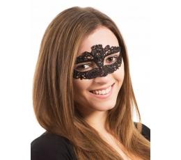 Nėriniuota veido kaukė / juoda (1 vnt.)
