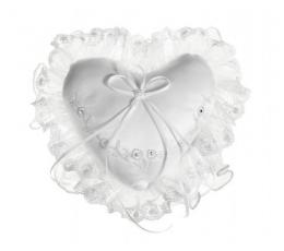 Pagalvėlė žiedams, balta širdelė